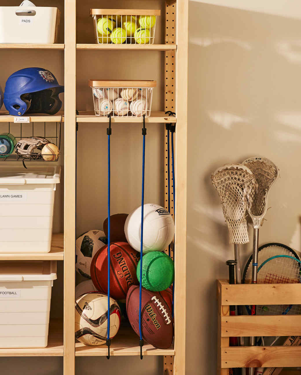 storing sports equipment storage