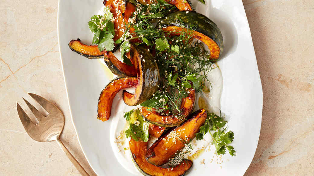 Roasted Kabocha Squash With Tahini And Herb Salad