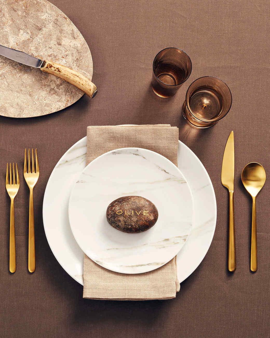 orange accents mushroom plate on place setting