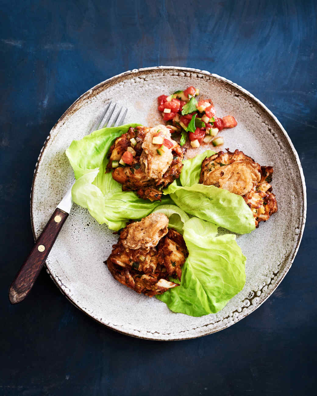 chesapeake blue crab cake with fried oysters