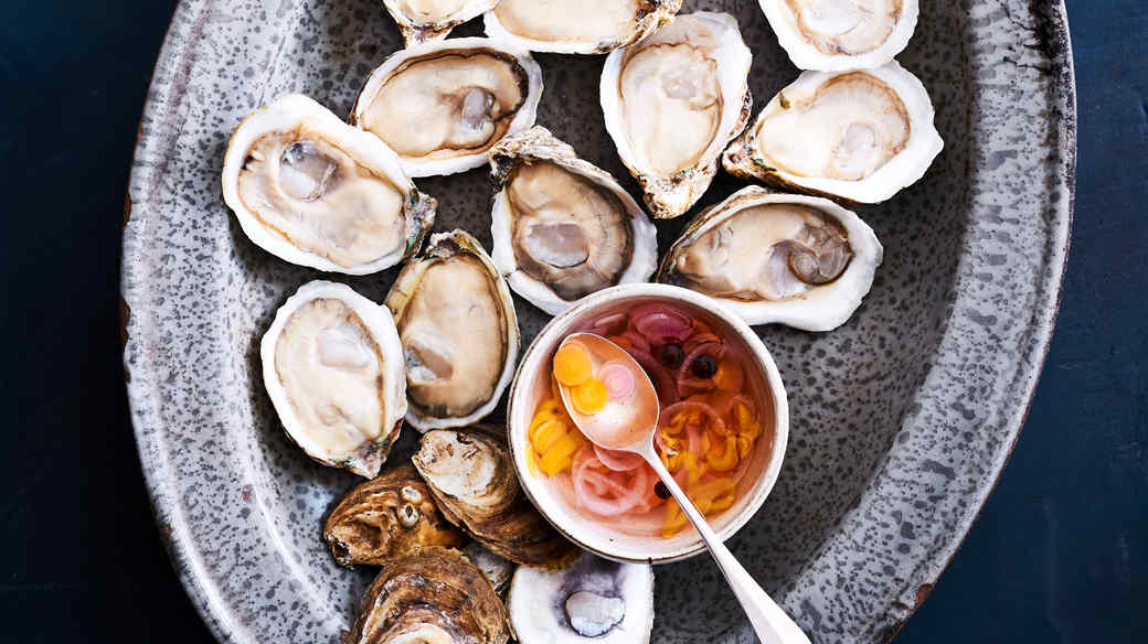 oysters on the half shell with vinegar sauce