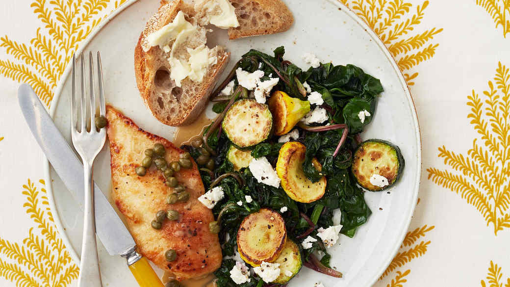 Chicken Cutlets with Summer Squash and Feta