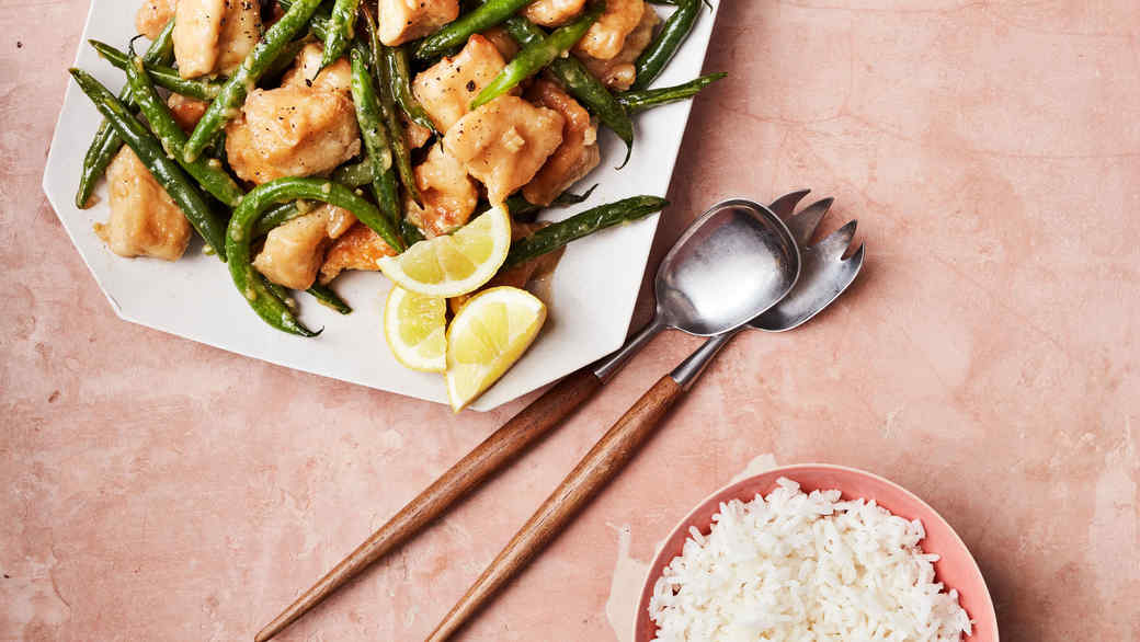 double happiness lemon chicken with green beans and rice
