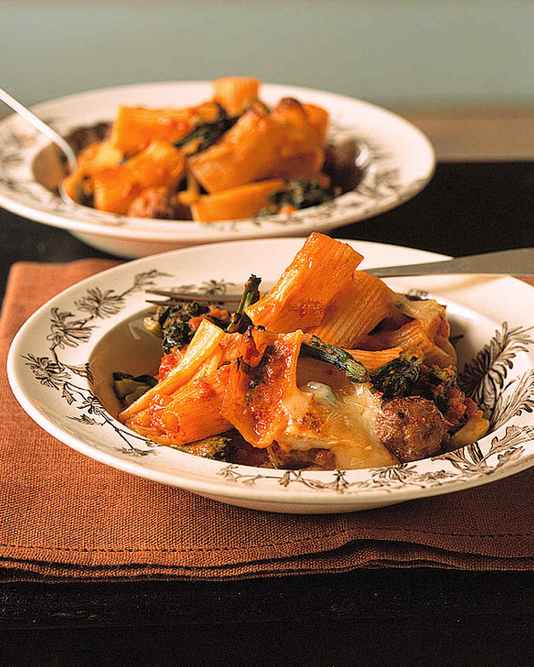 baked rigatoni with sausage meatballs and broccoli rabe