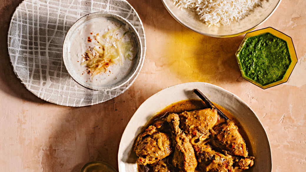 Chicken with Roasted Coriander in Coconut-Curry Sauce Dakshini Murgh