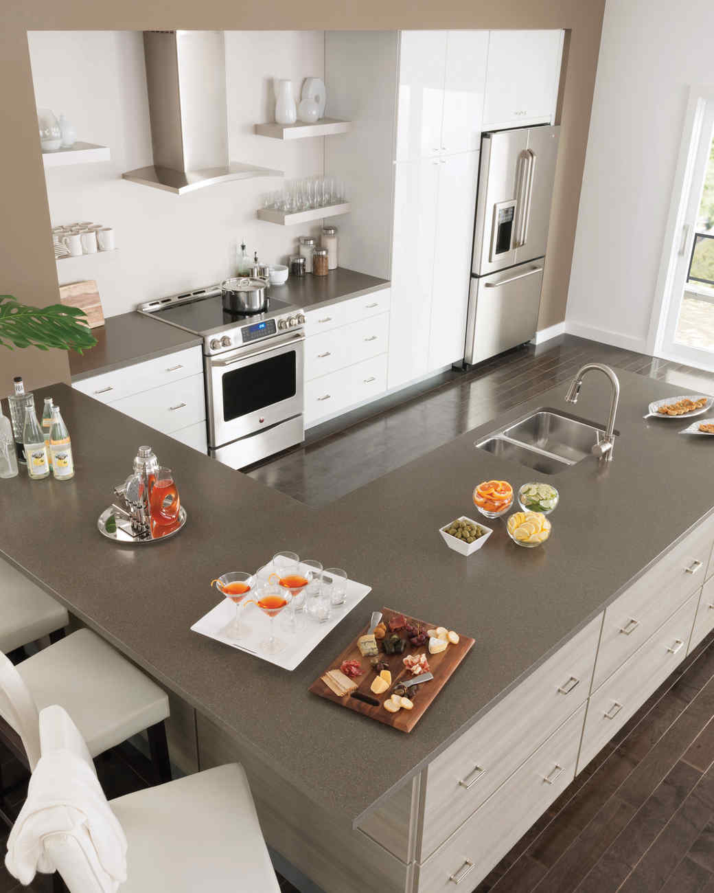 gray kitchen islands