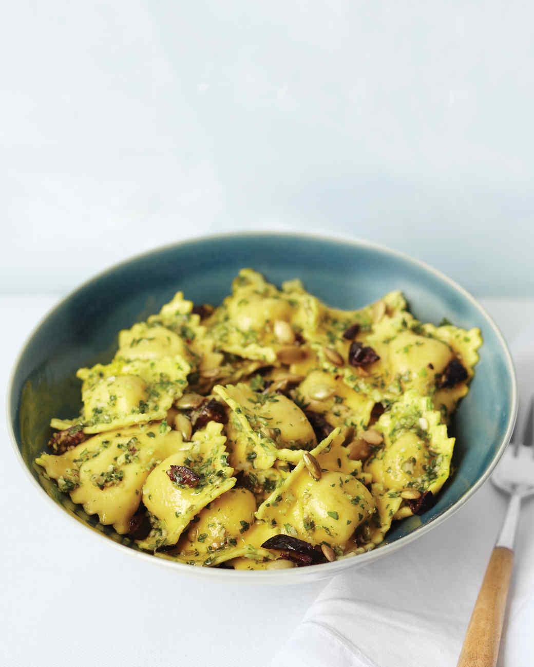 Ravioli Salad with Cilantro Pesto, Olives, and Pepitas Recipe | Martha ...
