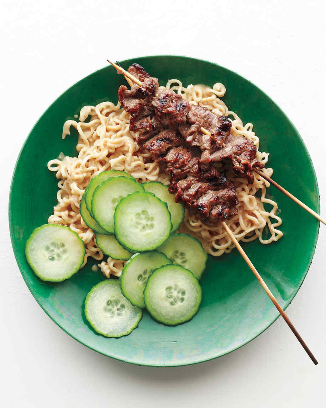 Beef Satay with Peanut-Ginger Ramen Recipe & Video | Martha Stewart