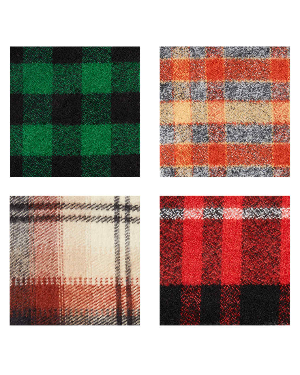 four assorted colors B&J Fabrics plaid cotton flannel