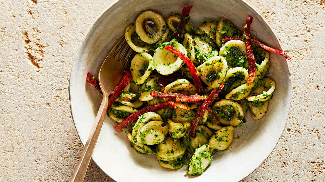 orecchiette with broccoli rabe pesto and crisp salami