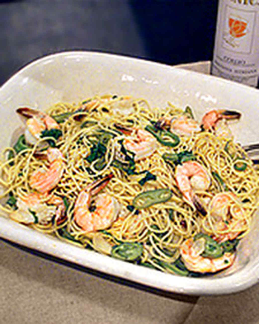 Spaghettini with Shrimp, Anaheim Chiles, and Arugula