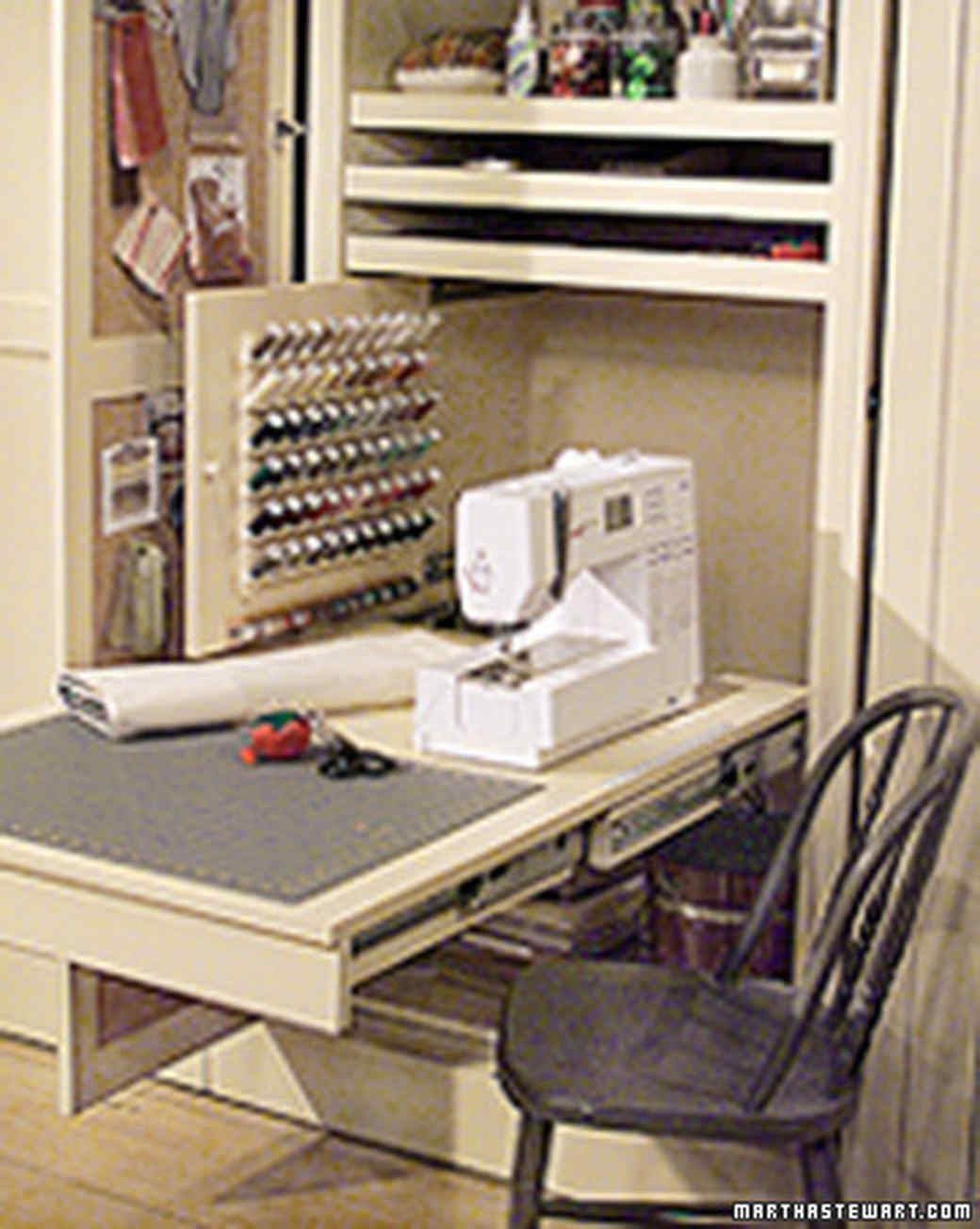 Sewing room in a closet martha stewart for Sewing room furniture