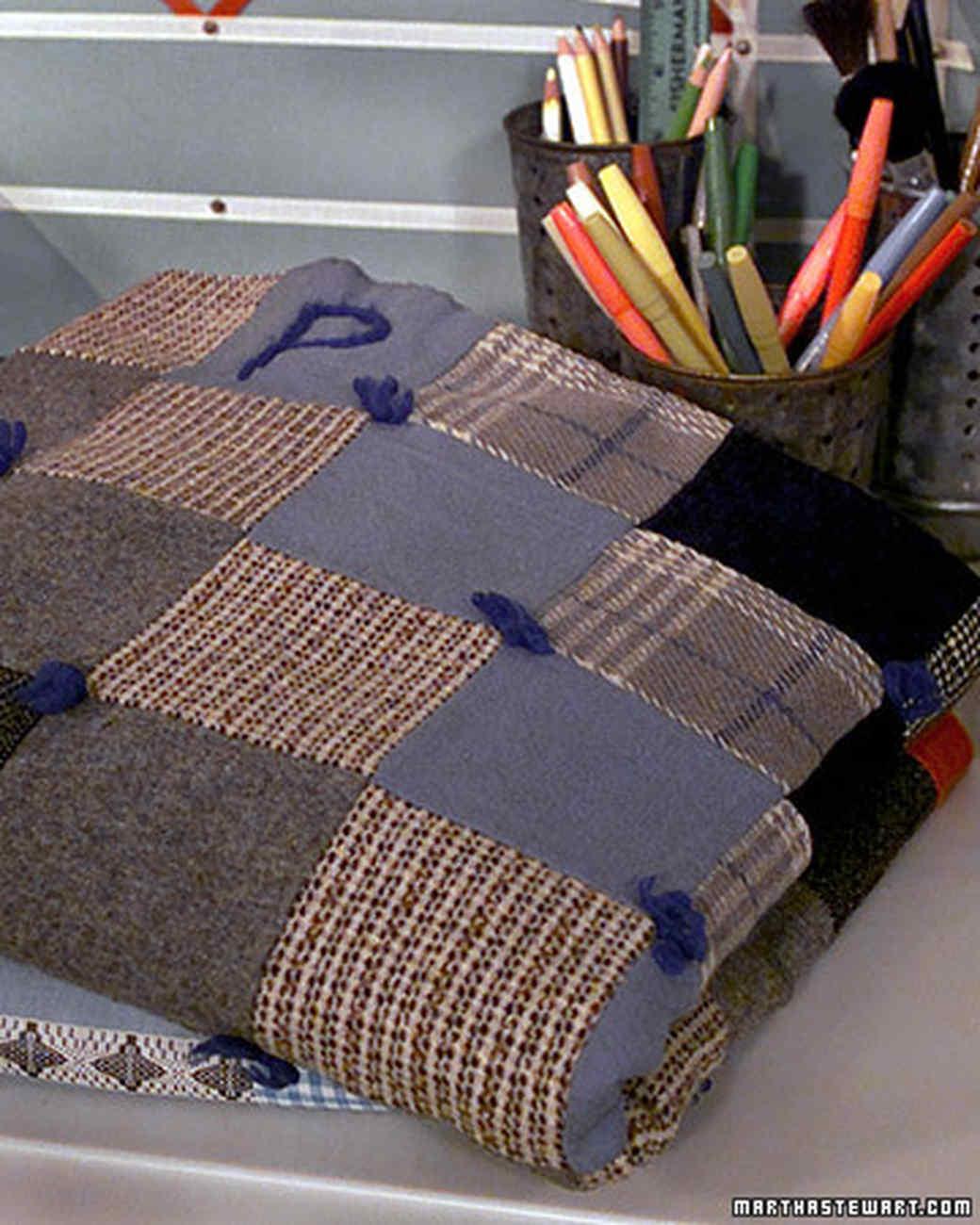 Wool-Tweed Patchwork Throw | Martha Stewart : how quilts are made - Adamdwight.com
