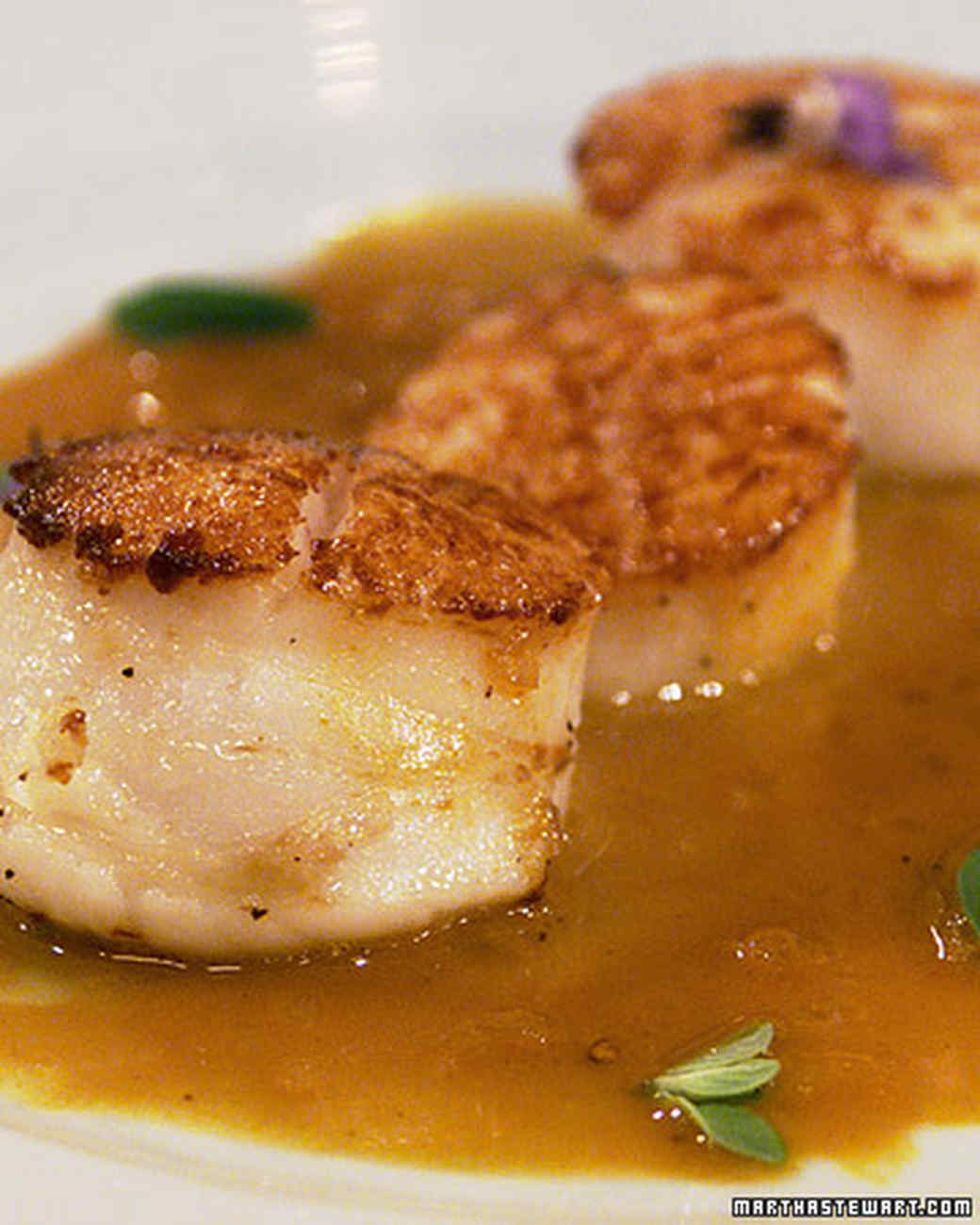 Seared Sea Scallops with Carrot Marjoram Sauce