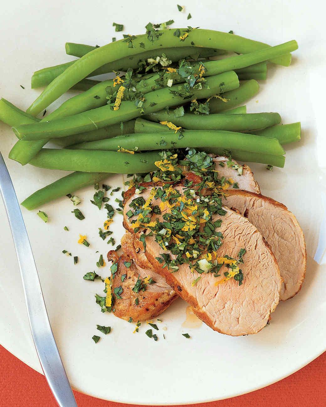 Pork Tenderloin with Orange-Parsley Topping