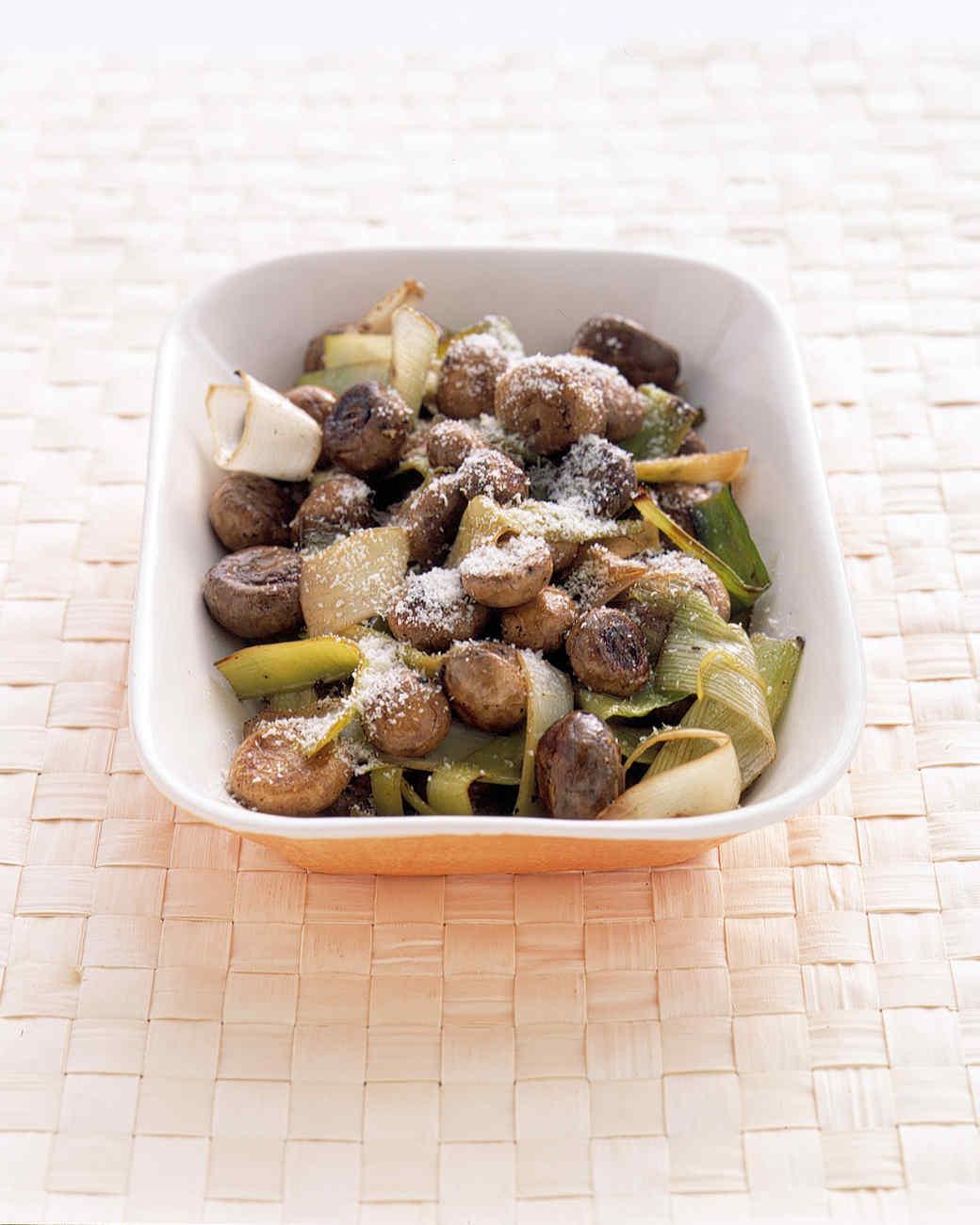Grilled Mushrooms and Leeks