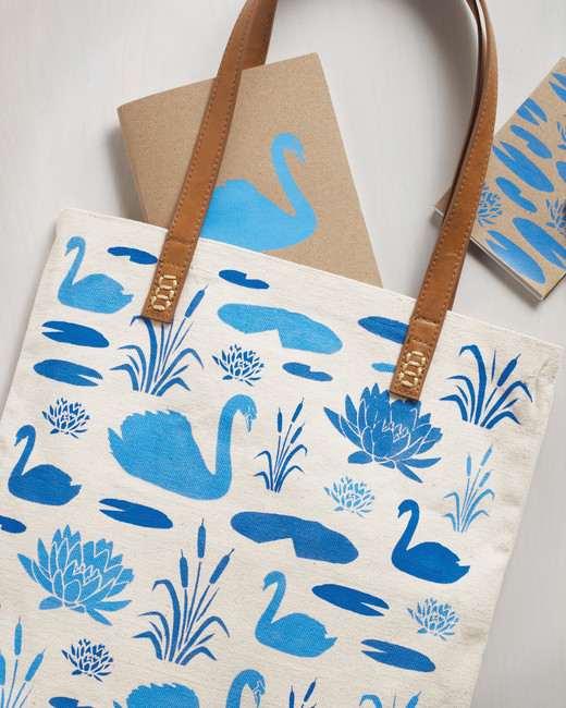 swan stenciled tote bag and notebooks martha stewart