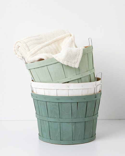 green decorative baskets