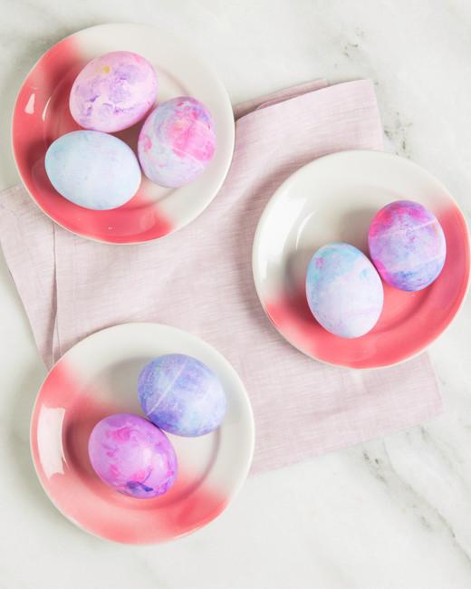 dyed easter eggs shaving cream on plates