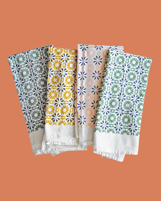 Cotton June & December Mixed Woodblock Chicory napkins