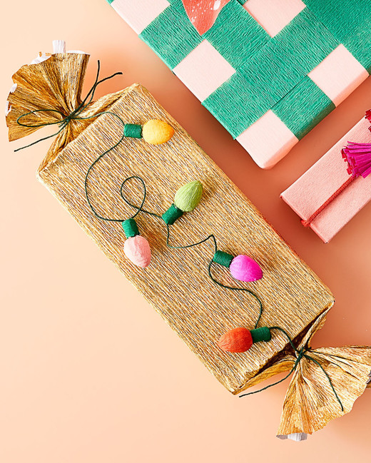 crepe paper string lights on wrapped present