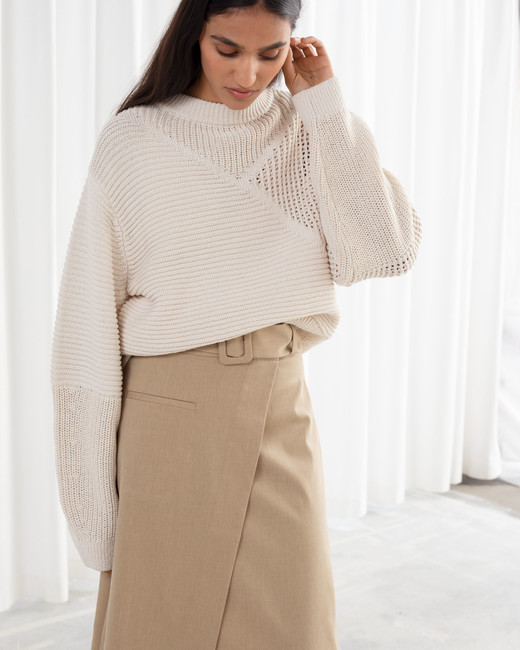 Mixed Texture Cotton Sweater with Belted Asymmetric Midi Skirt