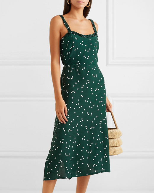 green Polka-Dot Crepe Midi Dress