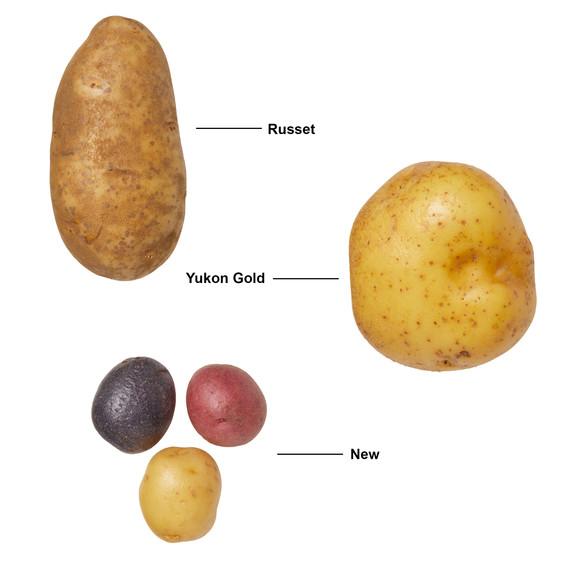 russet yukon gold and new potatoes