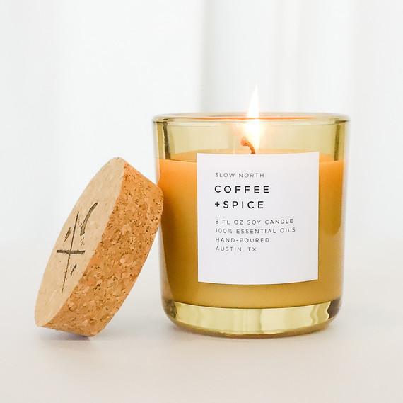 slow north coffee and spice tumbler botanical candle fall scent