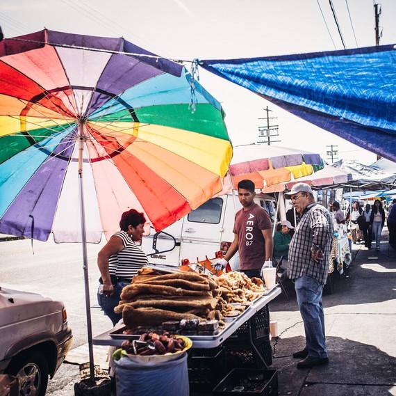 A chicharron vendor in downtown Los Angeles