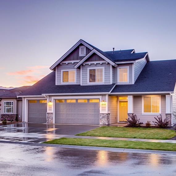 home neighborhood blue house
