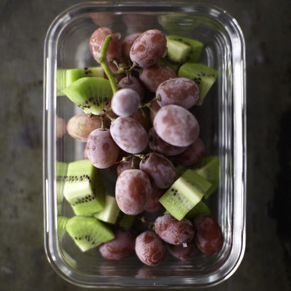 frozen grapes and kiwi