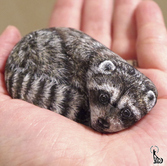 Stone-Racoon-0317_sq Painted Rock Garden Design Ideas on painted rocks with fish, cute pet rocks idea, painted flowers idea, painted rocks craft, outside front yard halloween decoration idea, painted kitchen idea, painted rocks with quotes, painted wall idea,