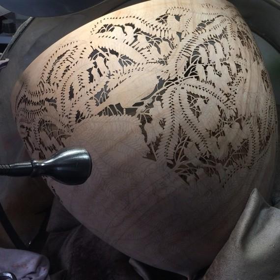 partially carved bowl by Gordon Pembridge