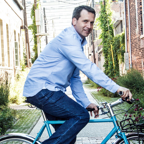 Heath Carr on a bicycle