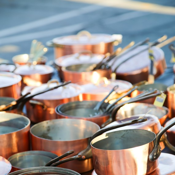 Copper pots at the flea market