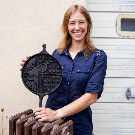 Alisa Toninato holding cast iron pan