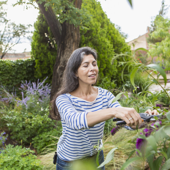 A woman prunes plants in her garden.