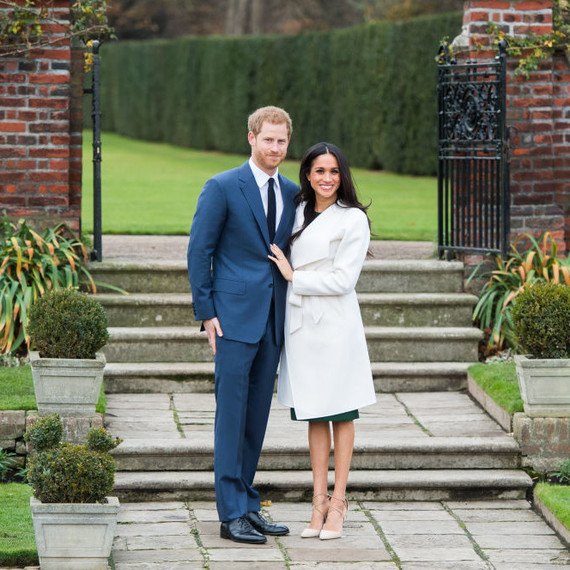 Prince Harry and Meghan Markle announcing their engagement.