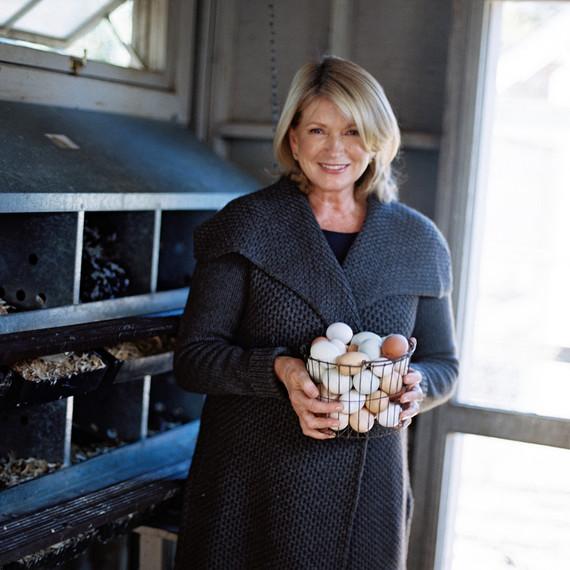 Martha and a basket of eggs