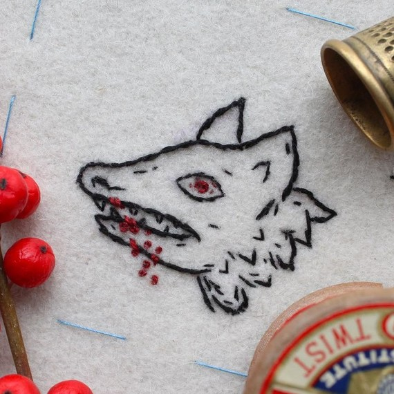 embroidery mini wolf blood halloween