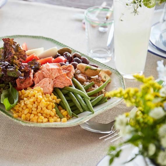 brunch table nicoise salad