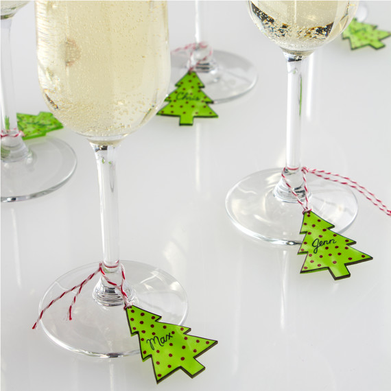Pop art christmas tree wineglass charms martha stewart for Martha stewart christmas wine glasses