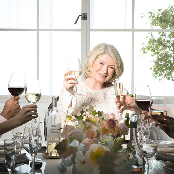 martha stewart raising wine glass