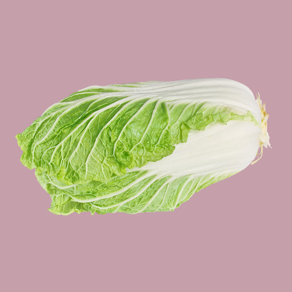 napa cabbage on pink background