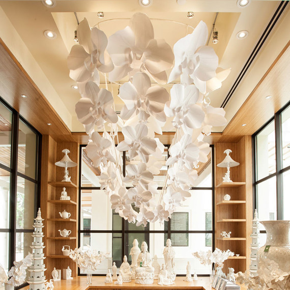 This 7 foot chandelier was made entirely of paper orchids martha orchid paper chandelier aloadofball Gallery