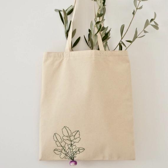 radish embroidery on canvas bag
