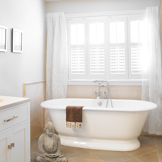 7 different bathroom window treatments you might not have thought of martha stewart for Bathroom window treatments privacy