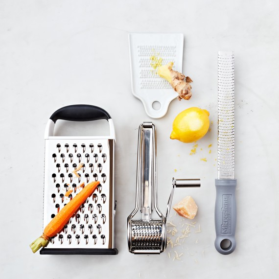 Box, rotary, ginger, and microplane graters