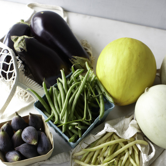 Late summer produce: eggplants, melons, figs, string beans